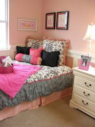 BedroomPink And Grey Teenage Girl Bedroom Decorating With Pink Wall Color Ideas Intriguing
