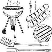 Vector isometric modern house Backyard barbecue equipment sketch