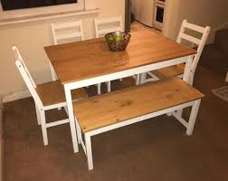 Dining Table With 4 Chairs & Bench In White & Natural Pine !!SOLD!! | In  Epsom, Surrey | Gumtree Robin 5 Piece Solid Wood Ding Set Nice Table In Natural Pine With 4 Chairs Round Drop Leaf Collection Arizona Chairs In Spennymoor County Durham Gumtree Wooden One 4pcslot Chair White Hot Sale Room Sets From Fniture On Aliexpresscom Aliba Omni Home 2019 Table Merax 5pc Dning Dinette Person And Soild Kitchen Recycled Baltic Timber Tables With Steel Base Bespoke Hardwood Casual Bisque Finish The Gray Barn Broken Bison Antique Bradleys Etc Utah Rustic How To Refinish A Its Actually Extremely Easy