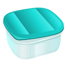 Plastic Container With Blue Lid Tiffin Box Lunch Vector Art Illustration