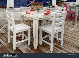 Vintage White Wooden Dining Table Chairs | Royalty-Free ... Rustic Ding Table And Chairs Boloco Centerpiece Oak Extendable For Setti Make Tables Decorating Large Farmhouse Table Rustic Farm Ding Amazoncom Hefx Nuremberg Country Solid Wood 8 Wooden Room A Yet Chic Dcor The Why Choosing Wood Room Sets Amazing Design Agtus 2016 Simplopinioes 140 Cm Wide Set Solid Wooden 5point Fourseat Five Nordic Chair Completed Total Rooms Eaging Outdoor Reclaimed Kitchen Countrykitchencoratingideassmallappliances