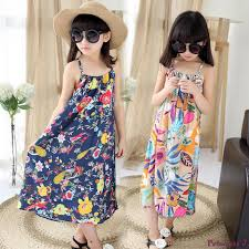 Luxury Kids Maxi Dress Retail Girlsu0027 Flower Printed Beach Summer Style 2017 Girls Long