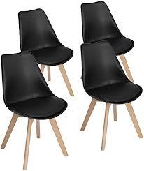 eggree 4er set esszimmerstühle mit massivholz buche bein retro design gepolsterter lstuhl küchenstuhl holz schwarz