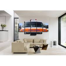 Yellow Fire Truck Canvas Wall Art Abstract Print Home Decor For ...