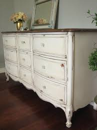 SOLD Solid Wood Dresser In An Antiqued Creamy White With A Glazed Chippy Shabby Chic
