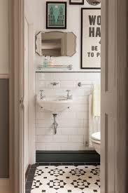 vintage bath with black white tile traditional powder room