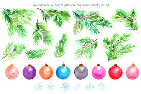 Watercolor Christmas Tree Branches Snowflakes Toys Balls PNG Set By WatercolorFlowers