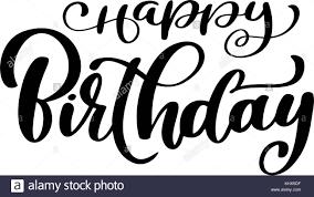 Happy Birthday calligraphy black text Hand drawn invitation T shirt print design Handwritten modern brush lettering white background isolated vector