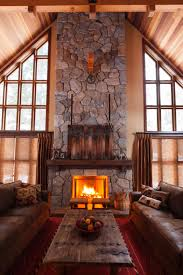 DecorationsRustic Exposed Stone Fireplace Design With Wooden Wall Mantel Also Vintage Coffee Table