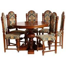 1920s Italian Renaissance Dining Room Set Carved Walnut Restored Wax Polished