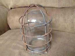 vintage light bulb wire cage glass globe protecive cover