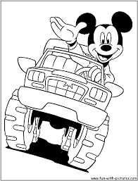 Mickey On Monster Truck Coloring Pages