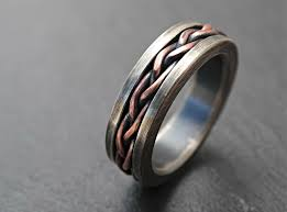 Custom Made Viking Wedding Band Braided Ring Two Tone Rustic Mens Unique