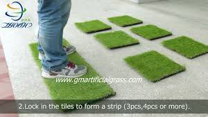 interlocking artificial grass deck tiles installation