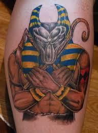 Anubis Egyptian God Color Ink Tattoo
