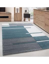 designer teppich modern kariert linien muster konturenschnitt grau weiß blau