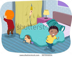 Stickman Illustration Of Kids Playing A Game Hide And Seek In The Bedroom