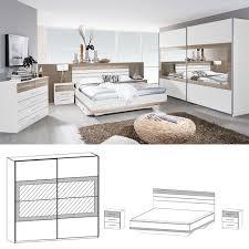 komplett schlafzimmer tarragona 4tlg 160cm bett weiß eiche