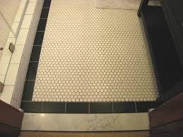 black and white hexagon tile floor