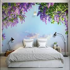 3D Room Landscape Wallpaper Beautiful Flowers Violet Wall Mural Bedroom Decor Papel De Parede