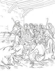 Click To See Printable Version Of Nativity Scene With Holy Family Shepherds And Animals Coloring