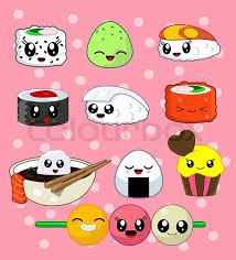 Cute Kawaii Sushi With Faces Roll Set Cake California Sake Ika Tekka Masago Rise Ball Udon Japanese Food Vector Illustration