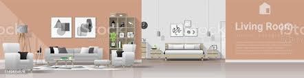 moderne haus innenhintergrund mit wohnzimmer und schlafzimmer kombination vektor illustration stock vektor und mehr bilder architektur