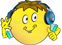 Cheerful Yellow Smiley Face Emoticon With Arms Brown Hair And Headphones Giving Thumbs Up Sign