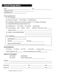 Payroll Change Notice Forms And Templates