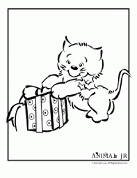 Kitten With Present Christmas Coloring Page