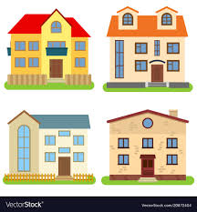 100 Four Houses Set Of Four Private Houses On A White Background Vector Image