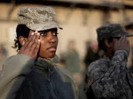 Black Female Soldier Saluting