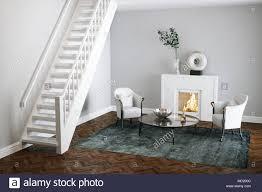 in weißem marmor kamin wohnzimmer mit holzfußboden 3d
