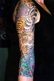 Chinese Flowers And Tiger Tattoo On Full Sleeve