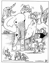 Kids And Elephant Coloring Page More Africain Animals Pages On Hellokids