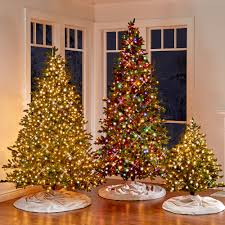 Slim Pre Lit Christmas Tree Led Lights by The World U0027s Best Prelit Noble Fir 6 5 U0027 Slim Led Hammacher