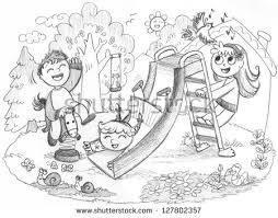 Playground In The Country 3 Happy Kids Playing Together Pencil Hand Drawn Illustration