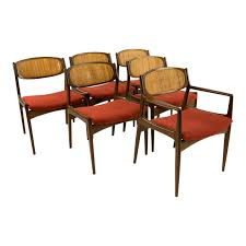 Mid-Century Modern Kofod Larsen For Selig Burnt Orange Upholstered Dining  Chairs - Set Of 6 Fabric Ding Chairs High Wingback Chair Black Skirted Side Tufted Updated Vintage Tall Tufted Ding Chairs Linen Print Key And Lock Fniture Upholstered With Perfect Fishing Touch Set Of Five Tall Back Grandview 35 Of 2 Vintage Tobacco Faux Leather Square Anthony Tall Arm Ding Chair Room Best For Sale Chair Set Jaffastreetco Arm Admirably