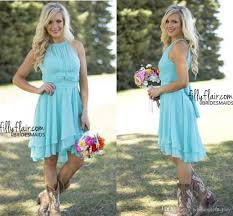 country style short bridesmaid dresses mint 2017 high low halter