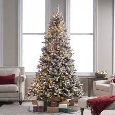 7 5 Ft Flocked Blue Ridge Spruce Christmas Tree With Instant Glow Ideas Of 75