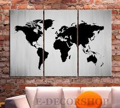 Large Wall Art Canvas Print Black And White WORLD MAP