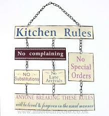 Kitchen Rules Hanging Metal Sign Wall Decor Decorative Items