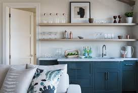 Blue Wet Bar with Gray Floating Shelves Transitional Living Room