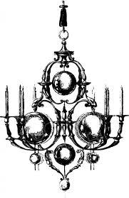 Vintage Candle Chandelier Black And White Clip Art Lights