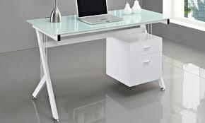 bureau en verre bureau plateau en verre et 2 tiroirs groupon shopping