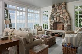 100 River House Decor Stone Fireplace Kitchen Style Beach Living Room