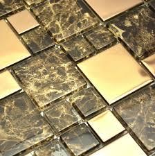 braun farbe glas mixed goldene edelstahl metall fliesen quadrat mosaik für küche backsplash fliesen badezimmer dusche fliesen