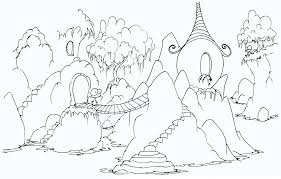 Coloring Page A Monkey Village In The Rocks