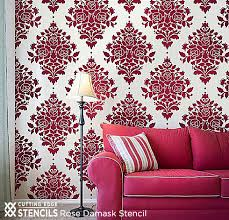 Stylist Inspiration Stencil Designs For Walls Also Adding A Dash Of Red Stenciled Panache Stories This Rose Damask From Cutting Edge Stencils Looks Like