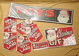 Lot Of Vintage Christmas Department Toy Store Signs Z